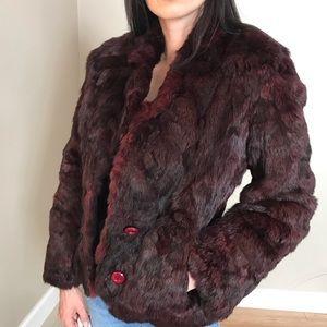 Vintage Split End Deep Red Rabbit Fur Coat Jacket